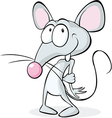 cute shy mouse isolated on white background - vector image