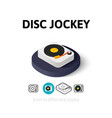 Disc Jockey icon in different style vector image