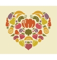 Heart from fruit and vegetables vector image