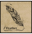 highly detailed hand drawn tattoo feather vector image