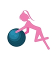 silhouette girl ball gym sport vector image