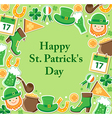 St Patricks Day green background vector image
