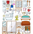 different household equipments and furnitures vector image