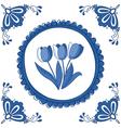 Delft Blue tulips vector image