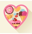 Heart background with colorful candy sweets and vector image