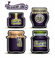 blueberry jam in glass jars vector image