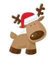 Christmas reindeer standing in Santas hat vector image