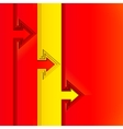 Colorful arrows with red cut paper layers vector image