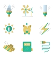 Flat simple icons for saving energy vector image