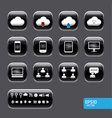 button with cloud computer icon set vector image vector image