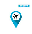 blue map pin with airplane icon vector image