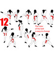 kids karate silhouettes vector image