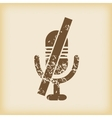 Grungy muted microphone icon vector image