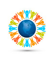 earth globe with people planet vector image