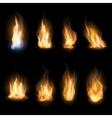 Fire flames on a dark background vector image