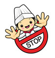 funny cook character stop gestures isolated on vector image