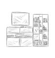 Hand drawn bookshelf Furniture sketch vector image