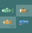 set submarine cartoon style flat design vector image