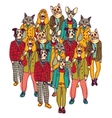 Standing group people with cats and dogs heads vector image