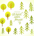 Watercolor trees set Template for your design vector image