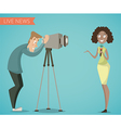 woman reporter and camera man vector image