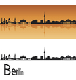 Berlin skyline in orange background vector image