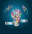 Creative light bulb with home appliances vector image vector image