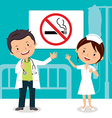 Doctor and Nurse with non-smoking sign vector image