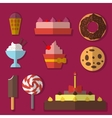 Flat set of sweets vector image