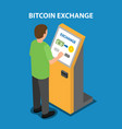 bitcoin exchange in the payment terminal vector image