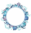 Blue Winter Floral Frame with Lotus vector image