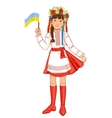 Girl in ukrainian traditional clothes with flag vector image