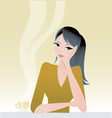 girl sitting with coffee vector image