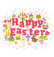 happy easter label isolated on white background vector image