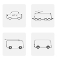 monochrome icon set with bus tram tro vector image