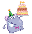 Purple Party Elephant Holding A Birthday Cake vector image