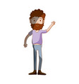 man with beard and casual clothes vector image