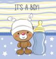 teddy bear with feeding bottle vector image