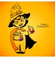 Little girl witch holding baby bottles with vector image