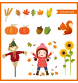 Cute girl and collection for autumn vector image