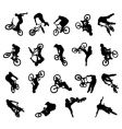 BMX rider silhouettes vector image