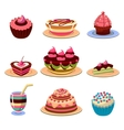 Bright Cakes and Dessert Icons Set vector image