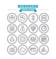 Business linear icons set Thin outline signs vector image
