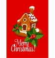 Christmas card with gingerbread house vector image