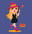Cute Witch Talking on the Phone vector image