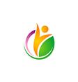 happy people vegetarian green leaf logo vector image