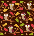 seamless pattern with owl on branch vector image