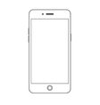 Smartphone outline contour placed on white vector image