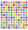 Valentines day color circle icons set vector image