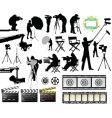 Cameramen and film set equipment vector image